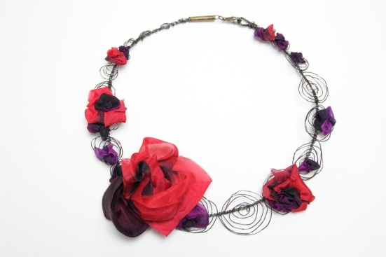 Art Jewelry silk and iron necklace