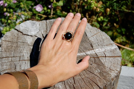 Gold and Black Coral Ring