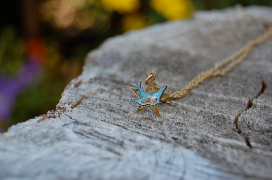 Enamel blue bird necklace